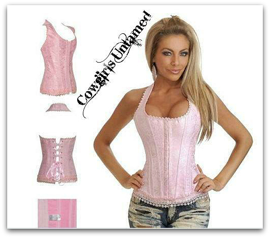 CORSET - COUNTRY COWGIRL Yellow & Pink Floral Denim Satin Trim Slightly Padded Lace Up Back Western Corset Top