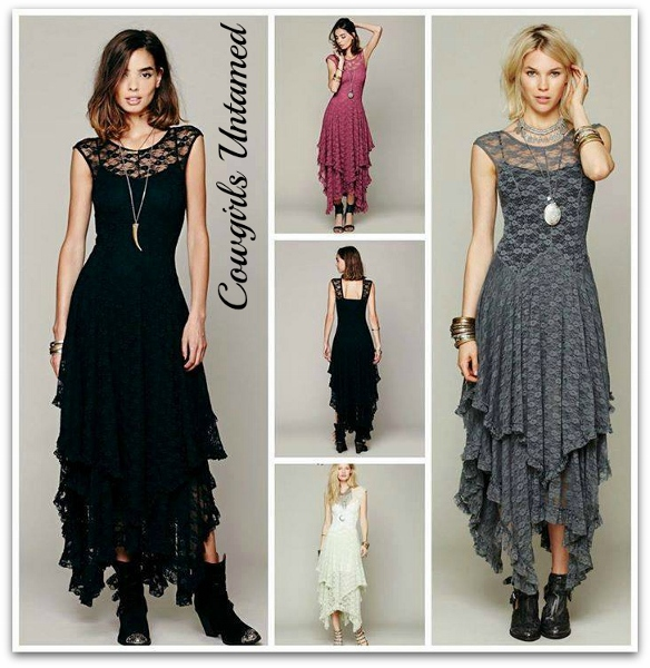 COWGIRL GYPSY DRESS Tiered Lace Cap Sleeve Western Dress