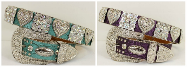 ATLAS BELT Rhinestone Heart n Square Concho with Silver Crystal Buckle Leather Western Belt