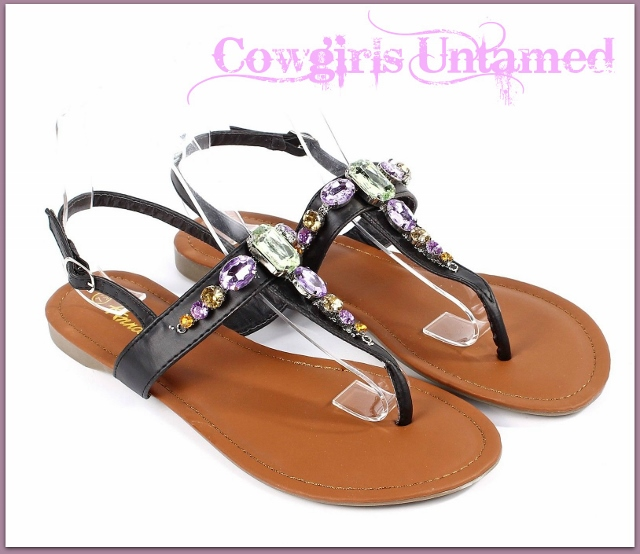 COWGIRL GYPSY SHOES Rhinestone Black Leather Strappy Sandals
