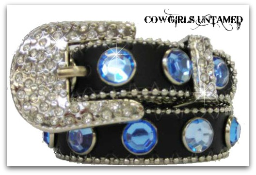 COWGIRL PET STYLE COLLAR Big Blue Rhinestone & Crystal Silver Buckle on Black Leather Pet Collar