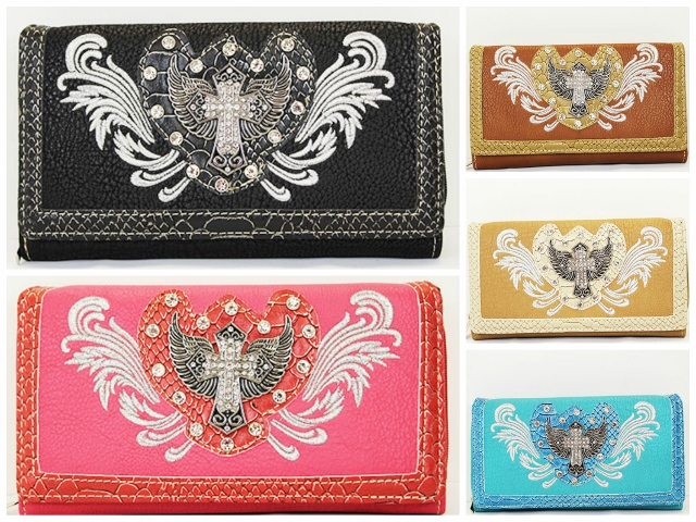 COWGIRL STRONG WALLET Rhinestone Studded White Embroidered Angel Wing Crystal Silver Cross on Leather Wallet