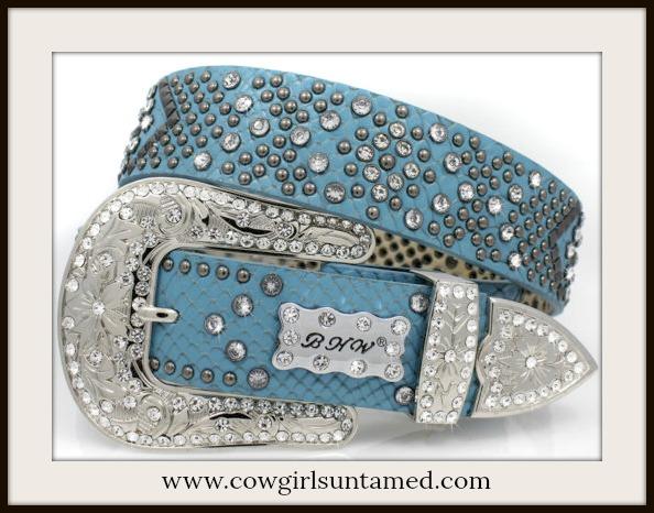 COWGIRL STYLE BELT Beautiful Blue Rhinestone Studded Leather Belt