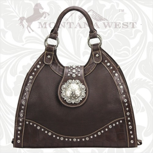 MONTANA WEST PURSE Rhinestone Studded Silver Concho Western Handbag by Montana West