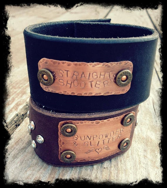 "COWGIRL OUTLAW CUFF Rhinestone Studded ""Straight Shooter"" OR ""Gun Powder & Glitter"" with Bullet Black Leather Bracelets"