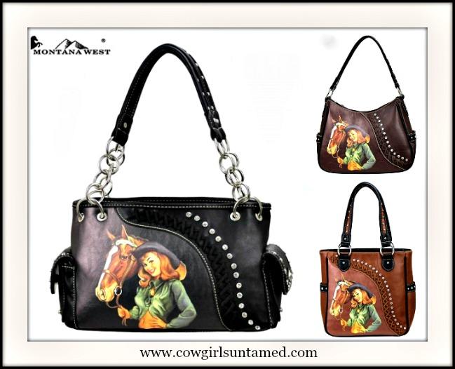 COWGIRL STYLE HANDBAG Rhinestone Studded Retro Vintage Cowgirl and Horse Western Handbag