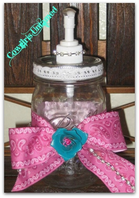 FARMHOUSE COUNTRY CHIC DECOR Vintage Style lace & Rhinestone Trim Pink Western Ribbon on Mason Jar Dispenser