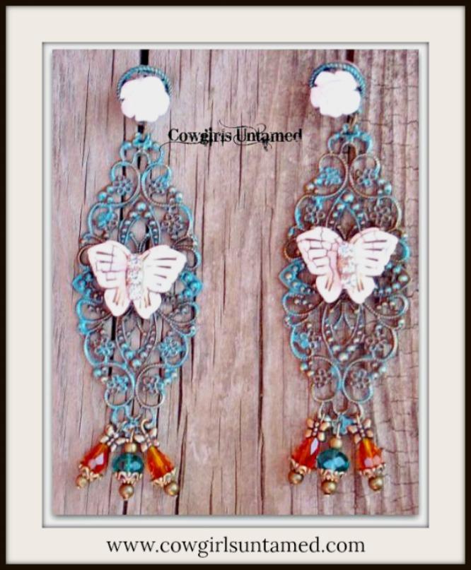 VINTAGE COWGIRL EARRINGS Rhinestone Ivory Turquoise Butterfly Teal & Orange Swarovski Crystal Earrings