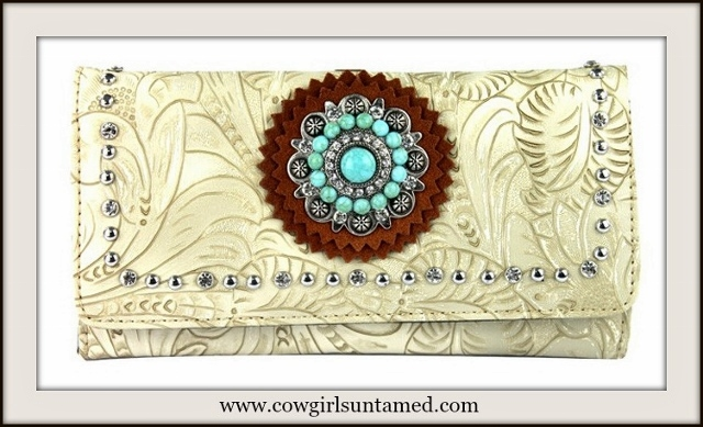 COWGIRL GLAM WALLET Rhinestone N' Turquoise Concho Silver Studded Tooled Leather Wallet