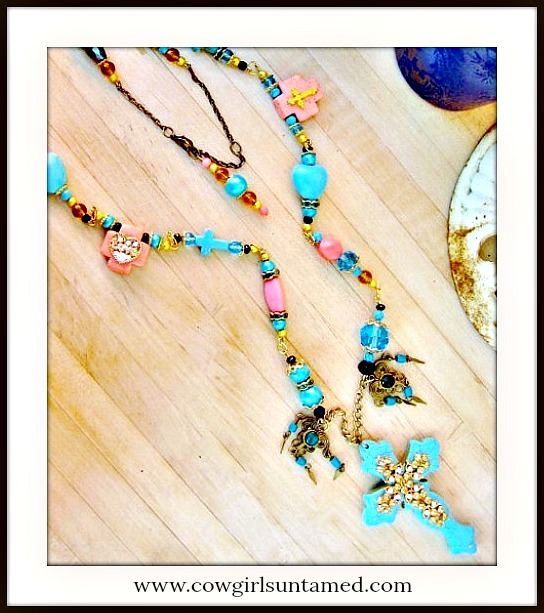 COWGIRL GYPSY NECKLACE Turquoise & Gold Rhinestone Cross Pendant Rosary Long Western Necklace