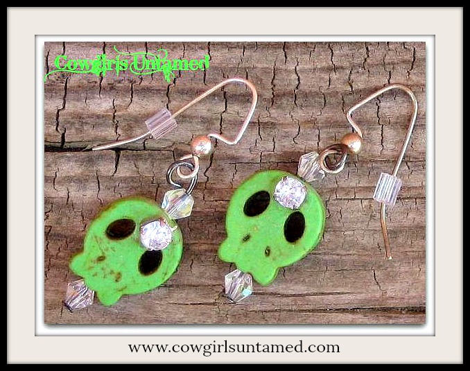 COWGIRLS ROCK EARRINGS Rhinestone on Green Turquoise Skull Crystal Earrings Artisan Made by Cowgirls Untamed