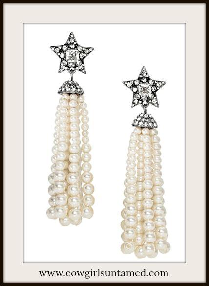 COWGIRL GLAM EARRINGS Pave Silver Star Long Pearl Tassel Earrings