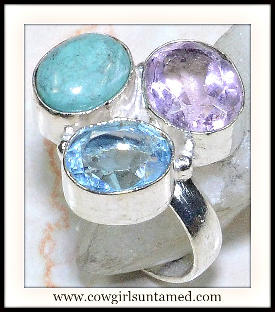 COWGIRL STYLE RING Sterling Silver Plated Pink Topaz Turquoise & Blue Topaz Western Ring