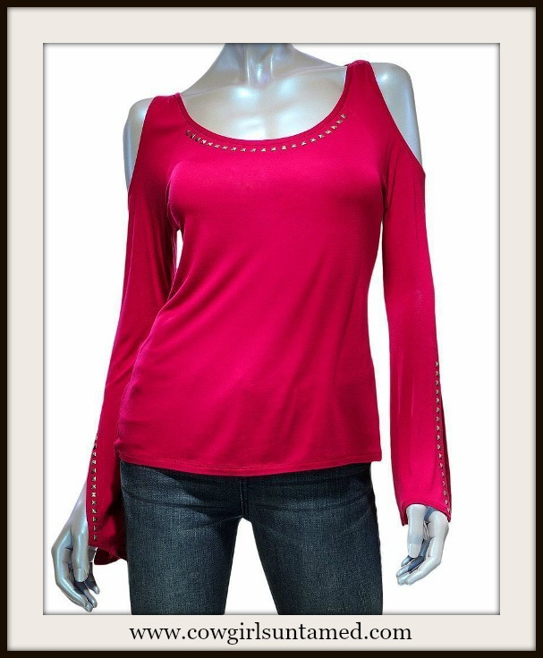 COWGIRL GYPSY LS TEE Hot Pink Fuchsia Studded Shoulder Cut Off  Long Sleeve Jersey Western Shirt by ROCK & REPUBLIC