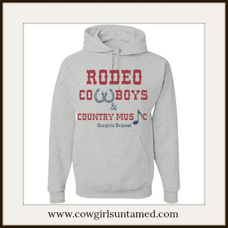 """COWGIRL STYLE SWEATSHIRT Red and Blue """"Rodeo Cowboys & Country Music"""" Grey Hoodie"""