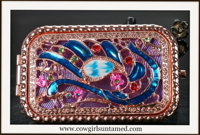 COWGIRL GLAM COMPACT MIRROR Bejeweled Rose Gold Beautiful Compact Mirror