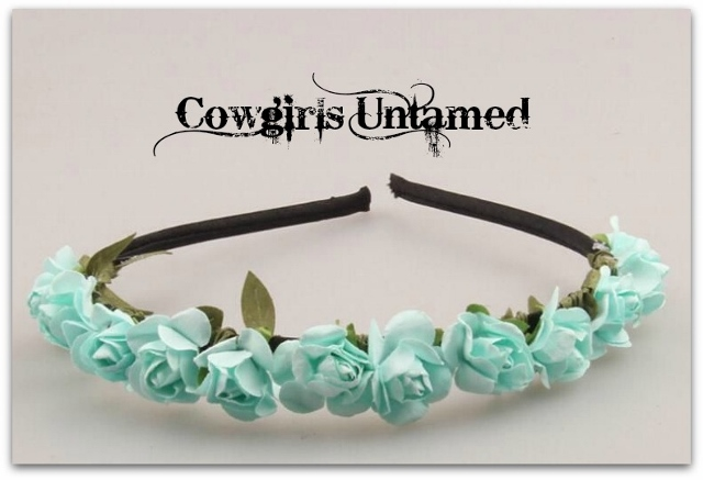 COWGIRL GYPSY HEADBAND Paper Rose Garland Boho Floral Hairband