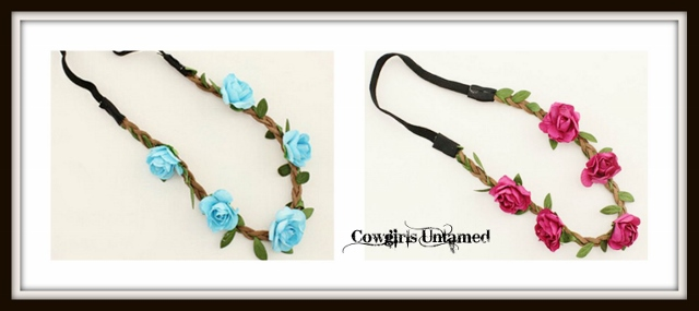 COWGIRL GYPSY HEADBAND Rose Flowers on Brown Braided Leather Stretchy Boho Headband