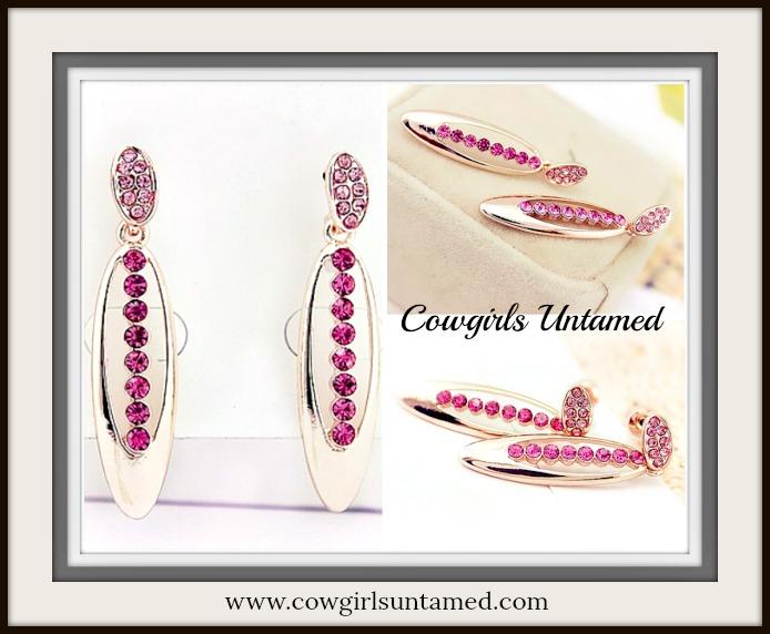 COWGIRL GLAM EARRINGS Rose Gold Dark Pink Gem Earrings