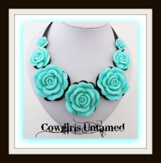 COWGIRL GLAM NECKLACE Aqua Rose Black Ribbon Choker Bib Necklace