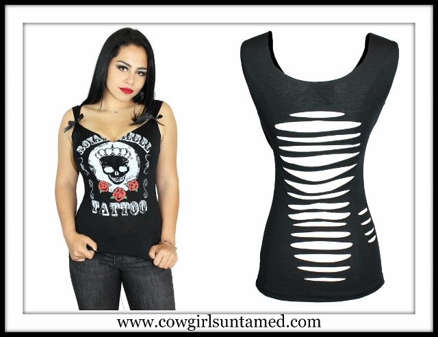 "DEMI LOON TOP ""Royal Rebel Tattoo"" Crowned Skull and Roses Slashed Back Tank Top"
