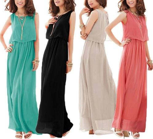 COWGIRL GYPSY DRESS Ruffle Chiffon Elastic Waist Long Maxi Western Dress