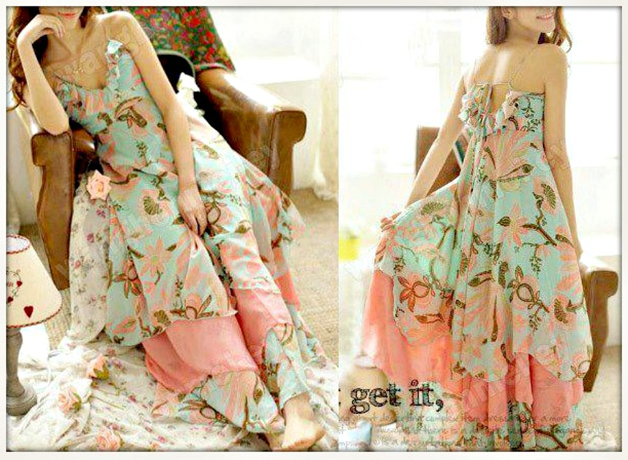 COWGIRL GYPSY Ruffled Floral Empire Waist Halter Style Western ...