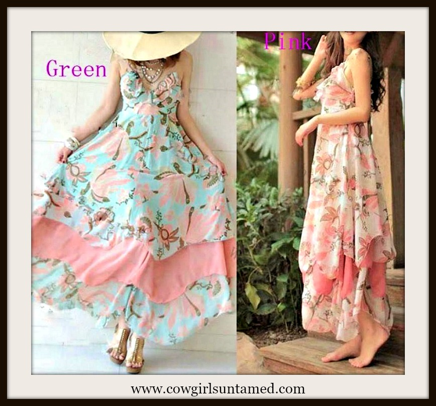 COWGIRL GYPSY DRESS Ruffled Floral Empire Waist Halter Style Western Boho Summer Dress in Seafoam Greens and Coral Pinks