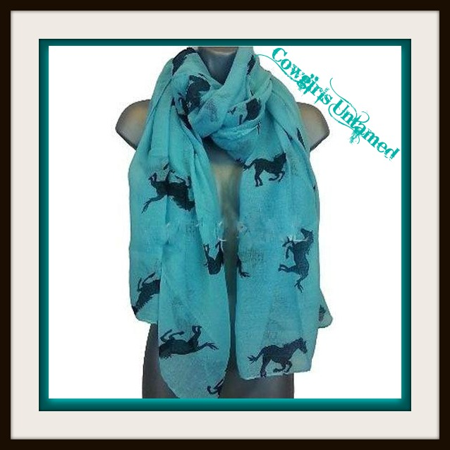 COWGIRL STYLE SCARF Running Horses Image on Long Western Scarf