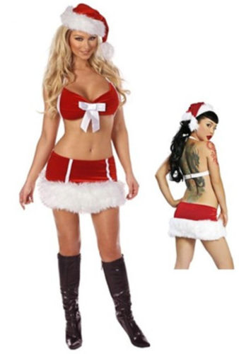 COWGIRL CHRISTMAS LINGERIE SET Red and White Mrs Santa Claus Bra Skirt and Hat Lingerie Set