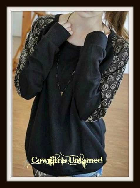 COWGIRL ATTITUDE SWEATSHIRT Skull Lace Shoulder Black Western Sweatshirt