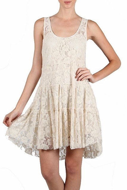 COWGIRL GYPSY DRESS Sleeveless Lace Tiered Western Mini Dress