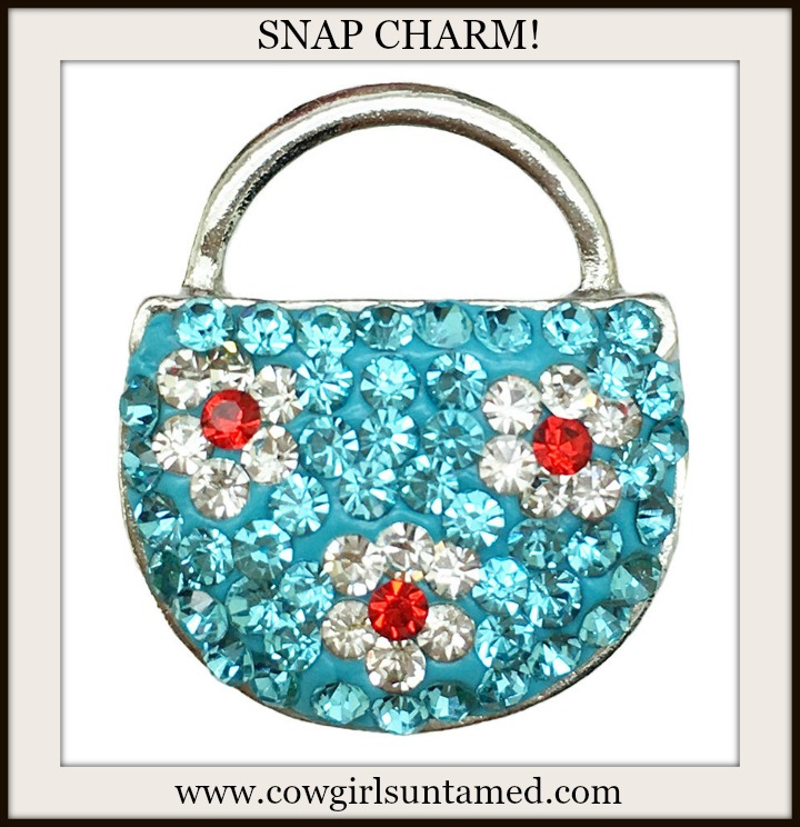 COWGIRL GYPSY SNAP CHARMS Aqua Rhinestone with Red Flowers Handbag Silver Snap Charm