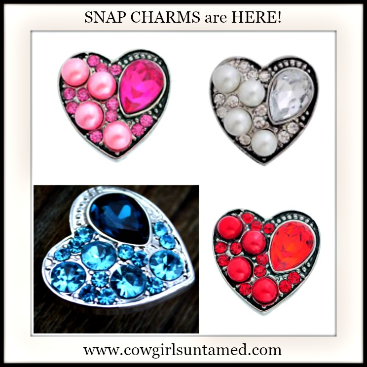 SNAP ON JEWELRY BUTTONS Crystal or Pearl Heart Snap Charms -You Choose