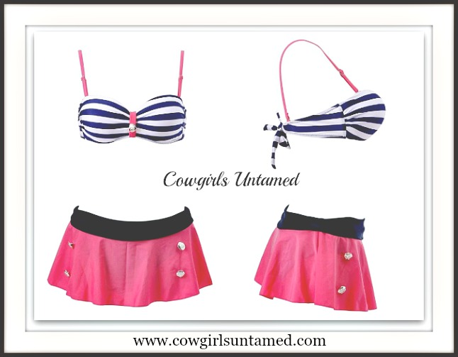 COWGIRL PINUP SWIMSUIT Sailor Swimsuit Striped Button High Waist Bikini