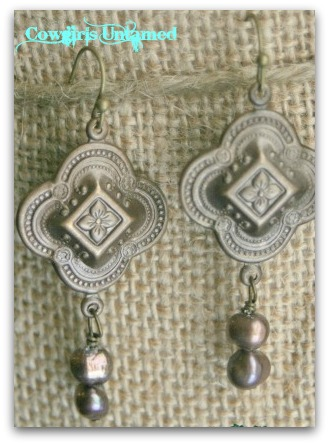 "COWGIRL STYLE EARRINGS ""Wild West"" Antique Bronze Ornate Cross with Pearl Charm Earrings"