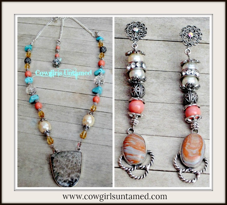COWGIRL GYPSY NECKLACE SET Sterling Silver Ocean Grey Jasper Pendant Aqua Turquoise Pearl Orange Coral Chunky Beaded Western Necklace Set