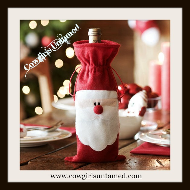 COWGIRL CHRISTMAS DECOR Red and White Santa Claus Christmas Wine Bottle Gift Bag