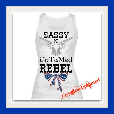 """RODEO REBEL TANK TOP """"Sassy N Untamed... Rebel"""" with Pistols N red White & Blue American Flag Bow White Western Tank Top"""