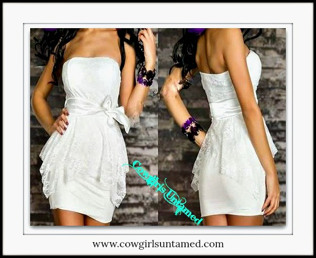 COWGIRLS ROCK DRESS White Satin Bow Empire Waist Lace Overlay Lined Peplum Strapless Western Mini Dress
