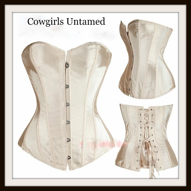 CORSET - COWGIRL GLAM Golden Champagne Satin Lace Up Western Corset Top
