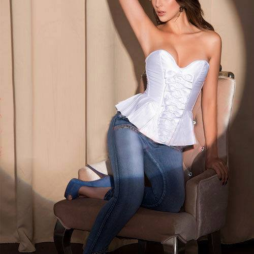 CORSET - Satin Peplum Lace Up Back & Zipper with Bow Front Western Corset Top