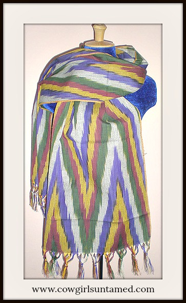 COWGIRL GYPSY SCARF Multi Color Grey Red Purple Yellow Black Green Fringe Ikat Western Scarf Shawl