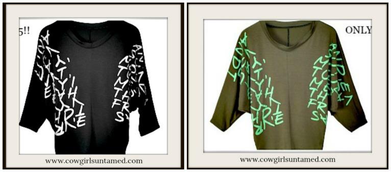 COWGIRLS ROCK TOP Script Graphic Dolman Sleeve Top