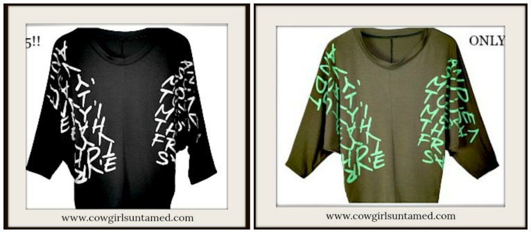 COWGIRLS ROCK TOP Script Graphic Dolman Sleeve Loose Fit Top