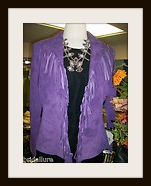 "SCULLY  JACKET - ""Rita"" - Suede Fringe Grape Purple Lined Leather Jacket"