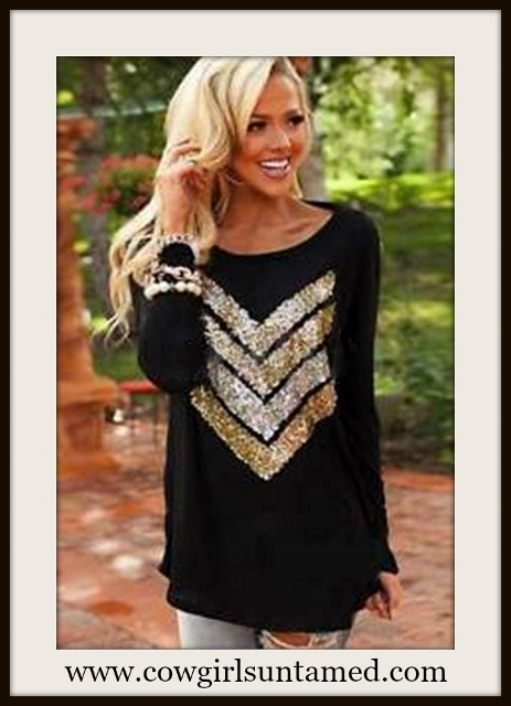 COWGIRL GLAM TOP Sequin Chevron Design on Black Long Sleeve Top
