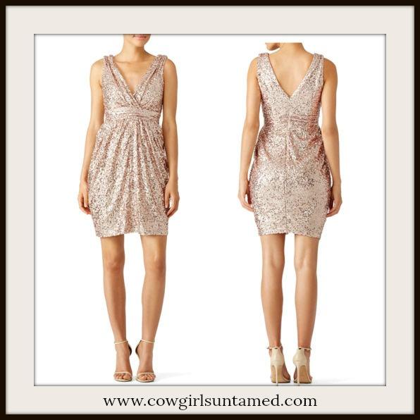 WILDFLOWER DRESS Sequin V Neck and Back Gold Cocktail Dress