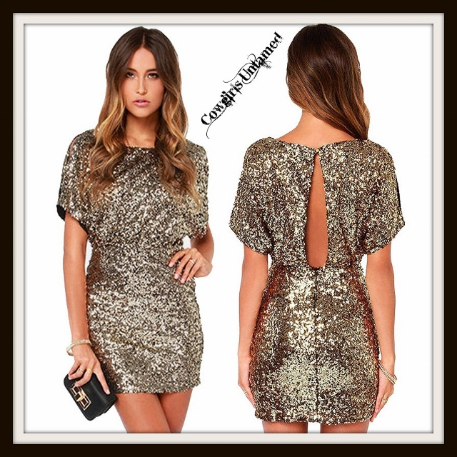 COWGIRL GLAM DRESS Allover Sequin Open Back Mini Dress