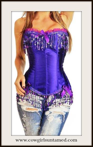 CORSET - Purple Satin Sequin Fringe Lace Up Western Corset Bustier Top